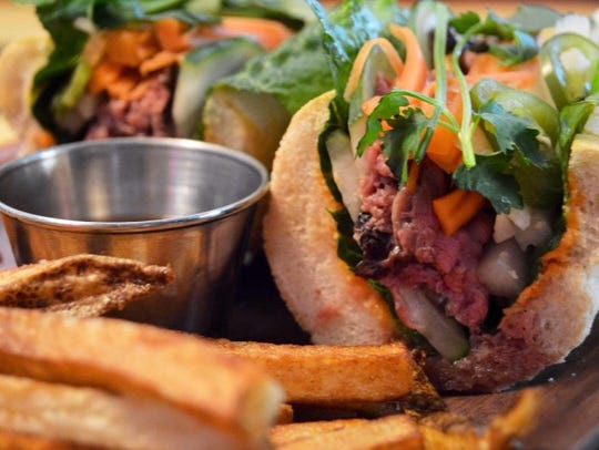 The banh mi sandwich, featuring fresh pit beef, at