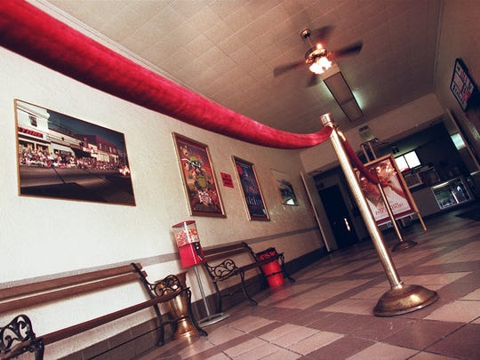 The foyer of the Midway Theater in Bethel. The theater