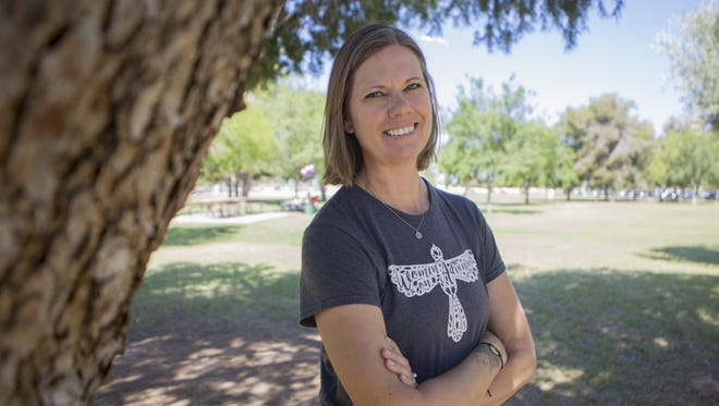 Jenny Zink poses for a portrait at Roadrunner Park in Phoenix on May 12, 2018.