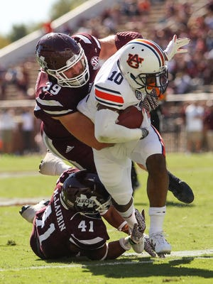 Mississippi State's Richie Brown (39) tackles Auburn's Stanton Truitt. Brown is one of the Bulldog seniors looking to leave his mark on the program.
