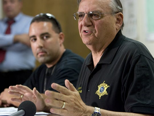 Maricopa County Sheriff Joe Arpaio speaks during a