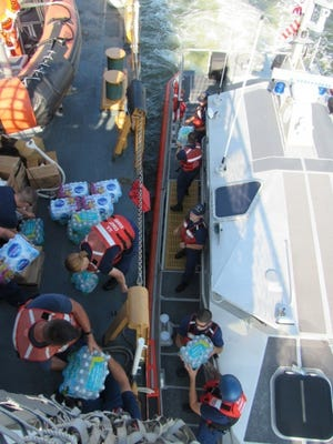 Coast Guard Cutter Forward crews delivered supplies Thursday in areas affected by Hurricane Irma. Crews transported more than 2500 lbs of food, water, medical and other aid that will be distributed to affected areas.