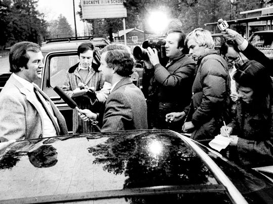 """Richard """"Dick"""" Lee (left) is interviewed by members of the local and national media in this 1981 Town Talk photo taken in front of Buckeye High School. Lee, 83, was found dead from a single gunshot wound in his Pineville law office on Friday morning."""