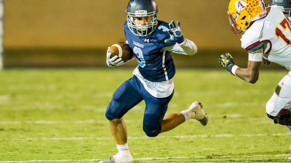 Senior wide receiver Jacob Najmabadi (3) and the Southside Christian School Sabres are No. 10 in Class AA in this week's S.C. Prep Football Media Poll.
