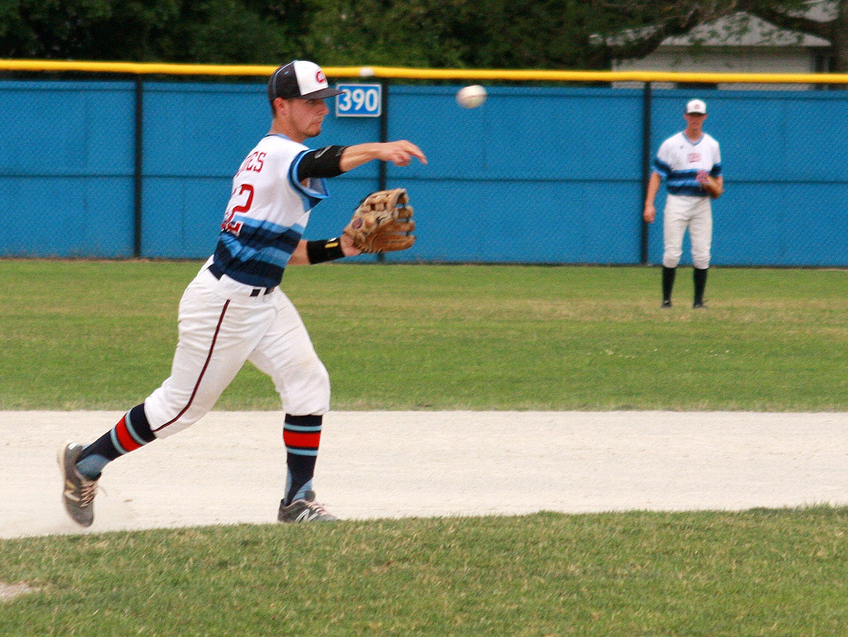 Nate Jones, formerly of Lakeview, plays for Midwest Athletics at the Connie Mack Regional at Bailey Park on Thursday.