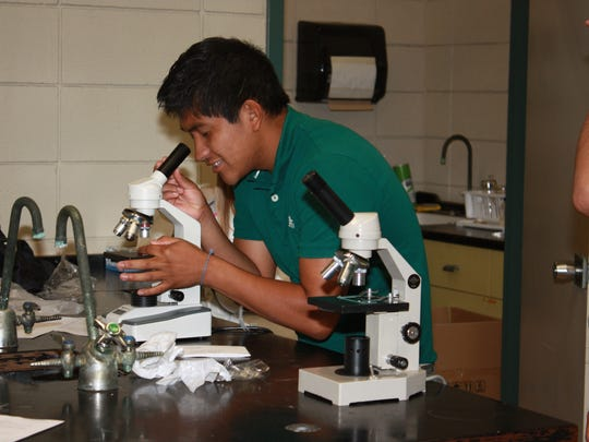 Rapides High student Julio Gomez looks through one of nine new microscopes for the school's science lab.