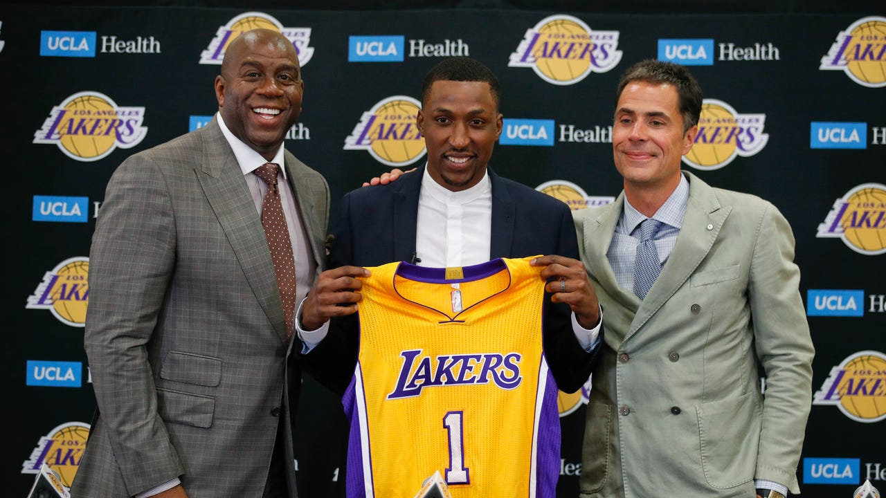 Watch former Pistons guard Kentavious Caldwell-Pope's introductory news conference with Magic Johnson, Rob Pelinka and the Lakers on July 18, 2017 in Los Angeles. Pelinka compares KCP's arrival to a bible verse where bread came down from heaven.