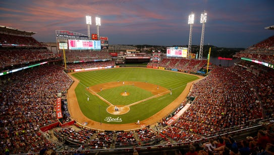 A view of Great American Ball Park as the sun sets