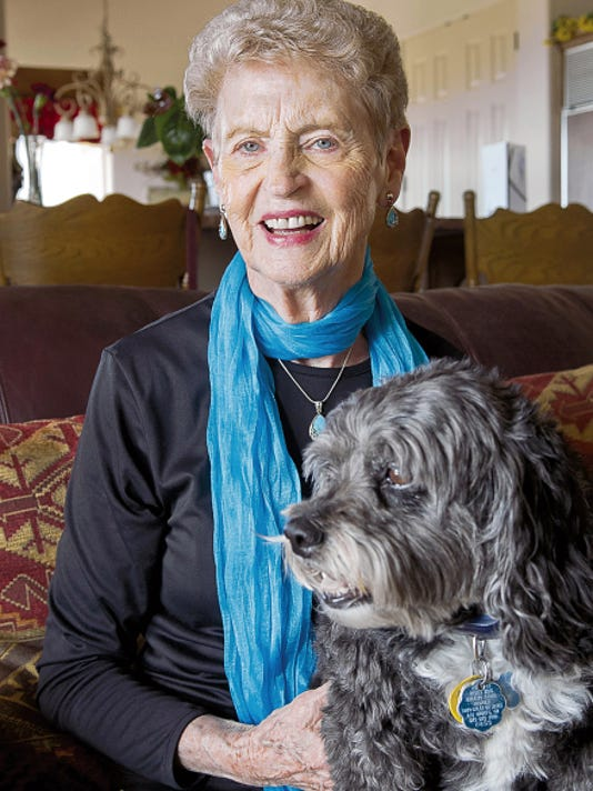 Betty Farmer of Las Cruces is a stroke survivor who is sharing her story so that others may recognize the signs of a stroke and get quick treatment. With her is her dog Pepper.