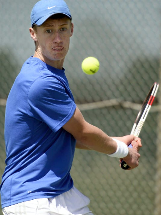 Cedar Crest's Colin Muraika overcame being forced to serve underhand because of an injury to advance to the District Three Class AAA semifinals on Saturday.