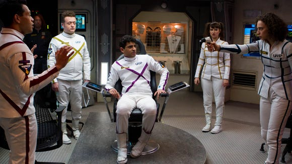 "Neil Casey (second from left) in a scene from Yahoo's ""Other Space""."