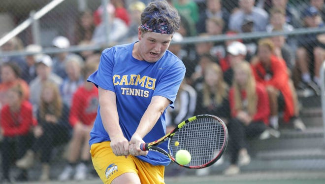 Carmel High School's Patrick Fletchall  defeated Brandon Wu of Evansville Memorial 6-1, 6-0 to win the boys singles state championship on Saturday at Park Tudor.