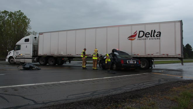 A Cadillac DeVille smashed into a semi truck on U.S. 30 eastbound Thursday, May 4, 2017. The driver of the semi was cited with failure to yield to a stop sign, according to the Ohio Highway Patrol.