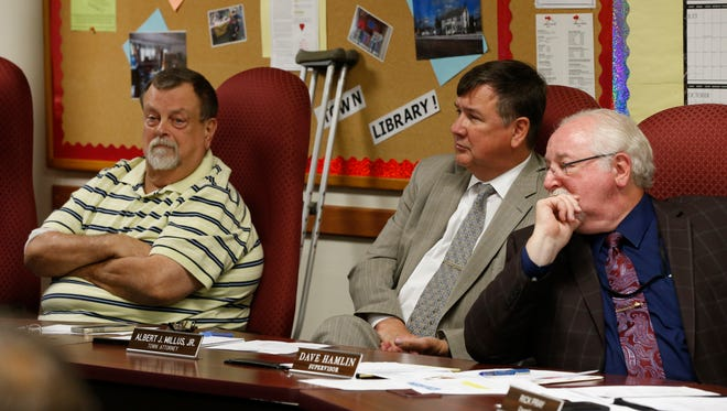 From left, Town of Fenton council member Mike Husar, town attorney Albert Millus and town Supervisor Dave Hamlin during a public hearing Wednesday.