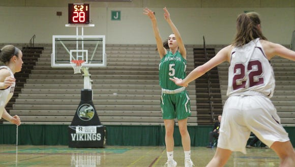 Irvington's Abby Conklin hits one of her seven 3-pointers