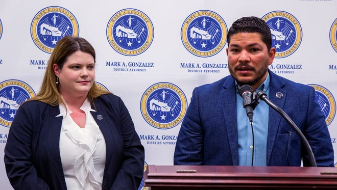 Michelle Putman, human trafficking prosecutor with the Nueces County District Attorney's office, and District Attorney Mark Gonzalez talk about the plea deal of Backpage.com's CEO Carl Ferrer in the 94th District Court of Judge Bobby Galvan during a press conference on Monday, April 16, 2018 at the Nueces County Courthouse in Corpus Christi, TX. Ferrer pleaded guilty to one count of conspiracy and three counts of money laundering in California. He also pleaded guilty to a conspiracy charge involving facilitating prostitution and money laundering. The website backpage.com, has been permanently shut down.