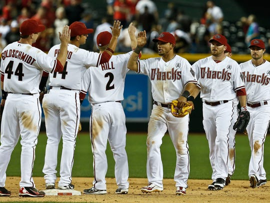 From left to right, Arizona Diamondbacks' Paul Goldschmidt,