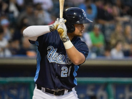 Hooks third baseman J.D Davis prepares to bat  in the third inning against the Midland RockHounds on April, 24, 2017, at Whataburger Field