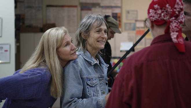 """Star Suzanne C. Dudley (left) and director Nora Jacobson filming """"The Hanji Box."""""""