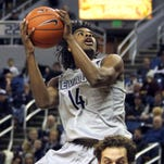 Nevada's Lindsey Drew brings the ball up he court during a game against Boise State on Wednesday.