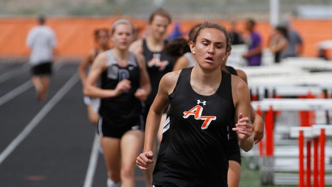 Aztec's Elana Kresl competes in the 800 meters during a meet on May 6 at Fred Cook Memorial Stadium in Aztec.