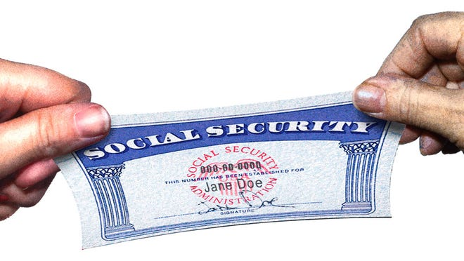 """PF-SOCSEC: Photo illustration depicts a social security card being stretched by the young and elderly generations. With Business story PF-SOCSEC. USA TODAY. 48p x 3-3/8"""". Color. RGB JPEG image."""