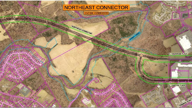 An aerial map pinpoints the route of the Northeast Connector.