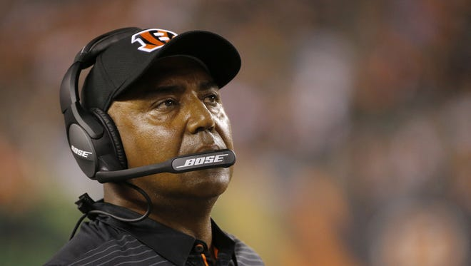 Cincinnati Bengals head coach Marvin Lewis watches a play unfold in the fourth quarter of the NFL Preseason Week 1 game between the Cincinnati Bengals and the Tampa Bay Buccaneers at Paul Brown Stadium in downtown Cincinnati on Friday, Aug. 11, 2017. The Bengals won the preseason opener, 23-12.
