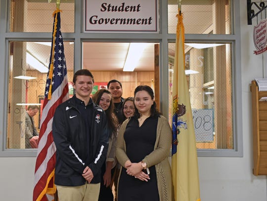 Vineland High School student council members stand