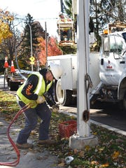 DTE Energy crews were in the Northville area replacing