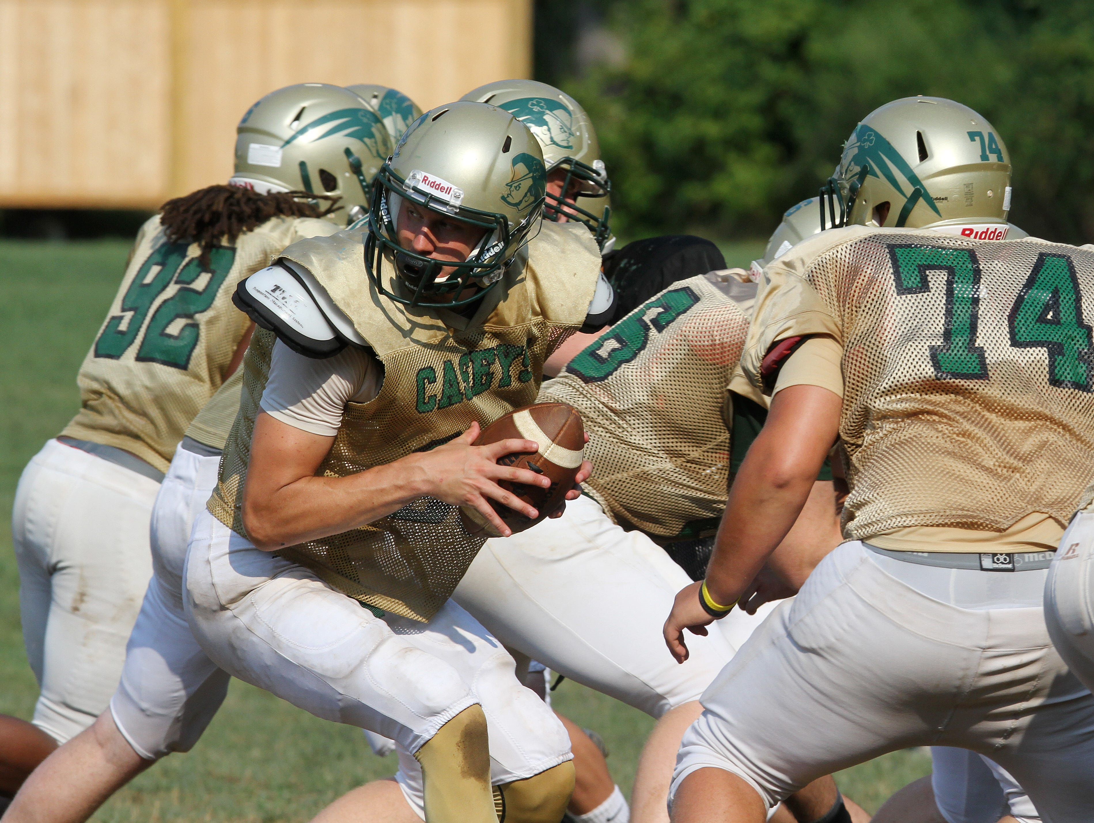 Red Bank Catholic senior quarterback Eddie Hahn threw for 301 yards and three TDs in his first game since he tore the meniscus in his knee on Aug. 18