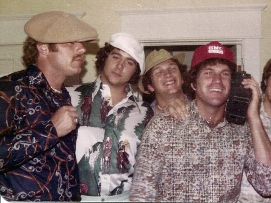 """Arizona Cardinals head coach and York native Bruce Arians has long been known to don a variety of hat styles. """"I always had this thing with hats,"""" said Arians, pictured here at left during his college days at Virginia Tech with, from left, Mike Burnop, Chris Courtney and Joe Thompson, who are all still close friends, according to Arians' wife, Christine."""