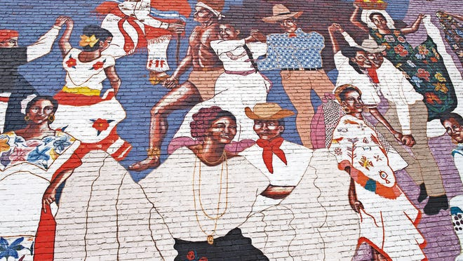 "El Baile de la Vida, or ""The Dance of Life,"" is a part of the downtown Avenue of Murals project, and a tribute to Mexican folklorico dancing."