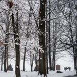 Snow covers trees on the Gettysburg National Military Park on Tuesday morning Feb. 9, 2016 as snow falls on Adams County.