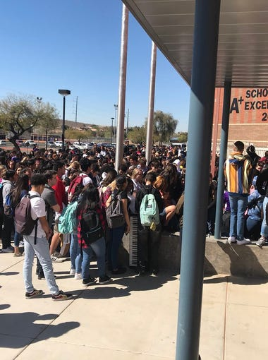North Canyon High School students staging a class walkout in Phoenix on March 2, 2018, in response to the Florida school shooting.