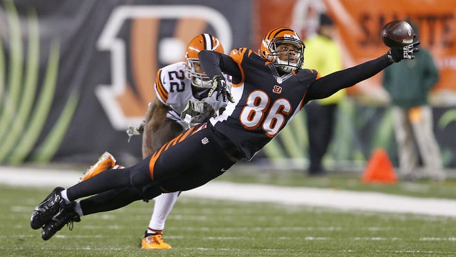 Bengals wide receiver James Wright stretches for a reception last season. He was waived-injured Tuesday by the Bengals.