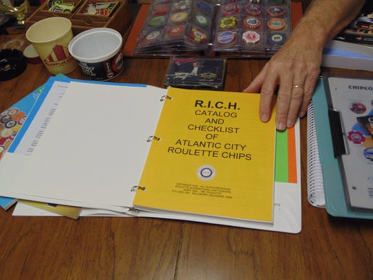 Included in casino memorabilia collector Gerald Birl of Millsboro's collection is a book documenting roulette chips in Atlantic City, New Jersey.