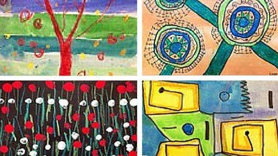 Photo is of some of the artwork created by the Saint Aloysius School students