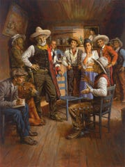 """Judge Roy Bean and His Court"" (2015), an oil on canvas by Andy Thomas."