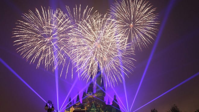 Fireworks are set off over the Shanghai Disney Resort during the open day at Shanghai Disney Resort in Shanghai, China, on June 16, 2016.