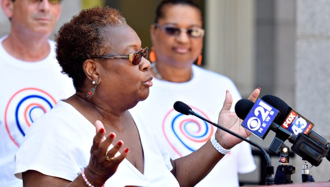 Margie Orr, who is president of the City of York School District, speaks as organizers hold a press conference to introduce 10,000 Acts of Kindness, a year-long collaborative effort to spread kindness and goodwill, outside of the York County Administrative Center in York City, Friday, June 29, 2018. Dawn J. Sagert photo