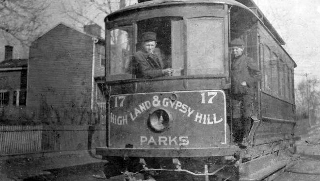 Early 1900s view of a trolley that served Highland Park and Gypsy Hill Park.