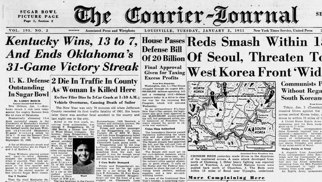 The Jan. 2, 1951 edition of The Courier-Journal highlighted Kentucky's Sugar Bowl win over Oklahoma on the front page.