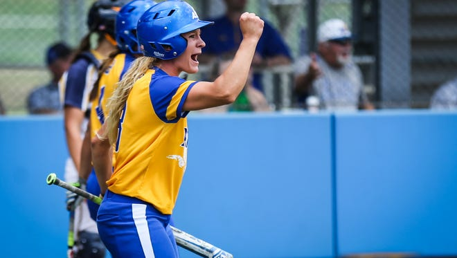 Angelo State's Danae Bina cheers on her teammates against Texas A&M-Commerce during the Division II South Central Super Regional Friday, May 18, 2018, at Mayer Field.