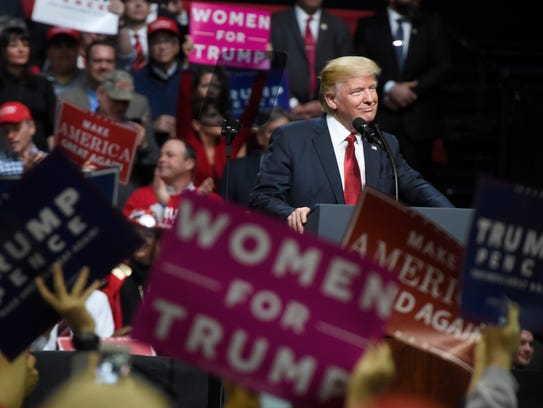 President Donald Trump speaks at a rally at Municipal