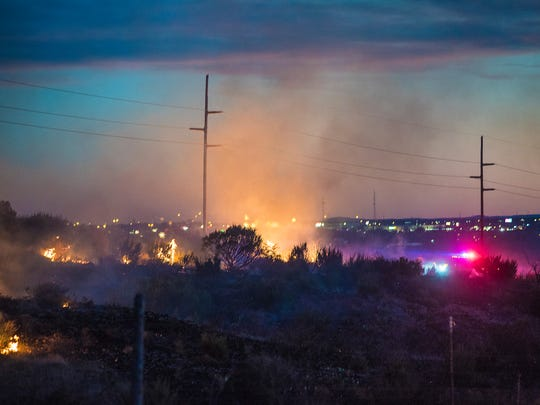 Authorities from multiple agencies responded to Wednesday's grass fire.