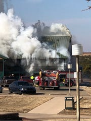 Fire destroyed the Bluebonnet Inn on the Texas State Technical College campus in Sweetwater on Wednesday.