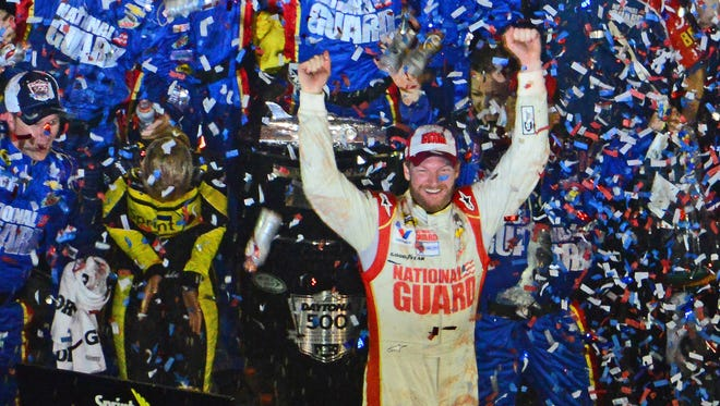 Dale Earnhardt Jr. celebrates winning the Daytona 500, his second win in the Great American Race.