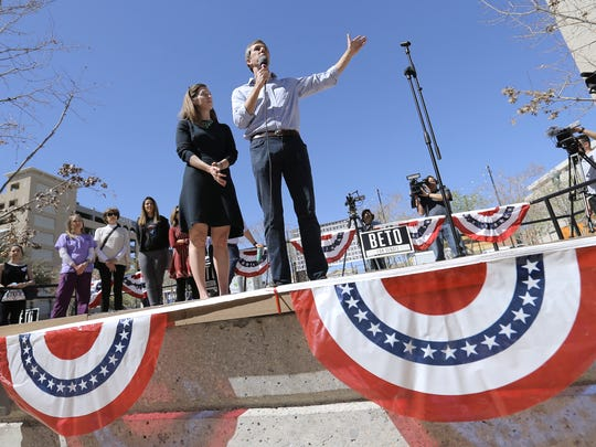 U.S. Rep. Beto O'Rourke, who is running for the U.S. Senate currently held by Republican Ted Cruz, holds his El Paso Voting Town Hall along side his wife Amy Sanders O'Rourke at San Jacinto Plaza. The crowd then walked together to the El Paso County Courthouse to vote.