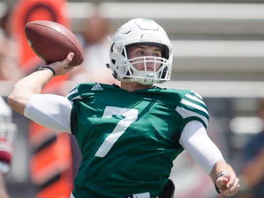 Troy quarterback Kaleb Barker (7) throws a pass during